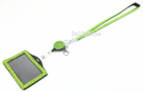 Multi-Colors Rhinestone set Breakaway LANYARD, Retractable Reel and Horizontal Badge Holder (19 colors for choice) (Lime Green)