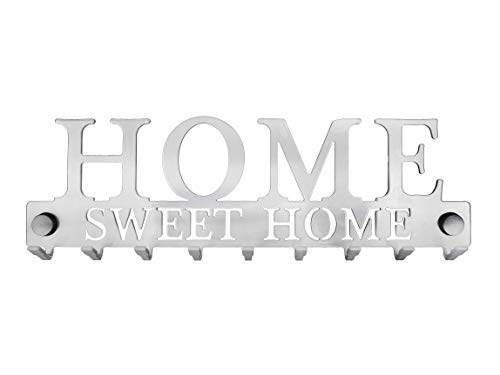 Llavero Pared Hogar Dulce hogar Metal compuesto de 9 ganchos, Artesanal francés, Diseño y decoración moderna, Almacenamiento y organización de la casa, gris