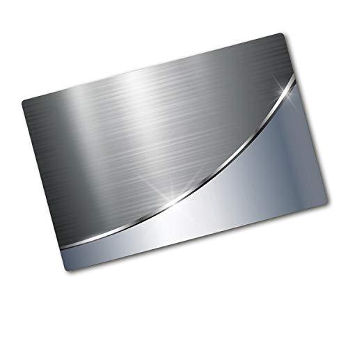 Tulup Tagliere Vetro Temperato - 80x52cm - Copri Piano Cottura - Imitazione Acciaio