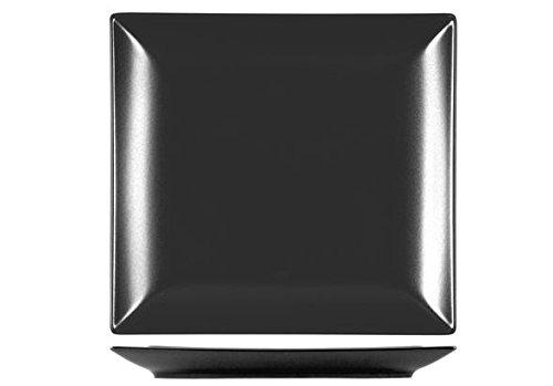 H&H H & H Boston Assiette Plate carrée, en grès, Noire 24 x 24 cm