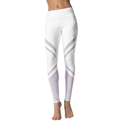SHOBDW Mujeres Entrenamiento Yoga Pantalones Sólido Cintura Alta Deportes Gimnasio Correr Medias Estiramiento Flaco Push Up Fitness Capri Leggings Pantalones Deportivos(Blanco,S)
