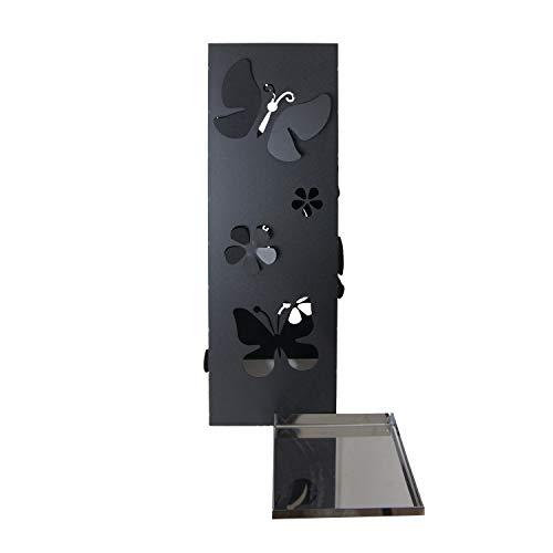CAI & ZAI Square Butterflies Schirmständer mit herausnehmbarem Tablett - Schwarz - 15x15x47 cm -