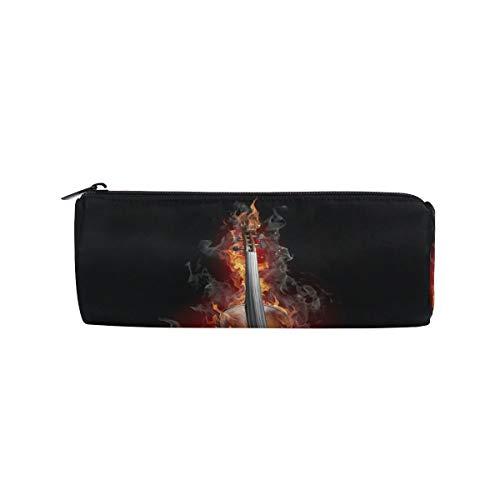RGFDF Brennende Geige Schöne Meerjungfrau Bleistiftetui Stifttasche, Multifunktionale Schreibwaren Tasche Reißverschlusstasche Student Zip Bleistifthalter Tasche Geschenk Reise Make-up Tasche