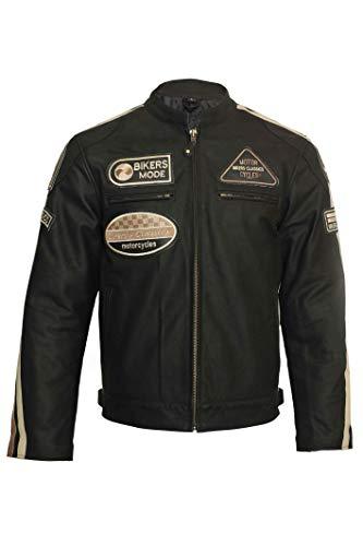 Giacca da motociclista da uomo in pelle con distintivi giacca in pelle con strisce Marrone XL