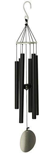 OSVINO 6 Tubes Carillons Feng Shui Eoliens Suspendu Furin Crochet Décoration Nature Mélodieux Elégante Jardin Maison Cadeau,Noir 90cm