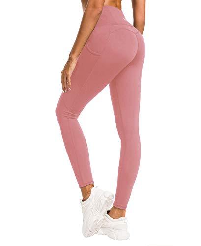 QUEENIEKE Damen Yoga Leggings Mesh Mittlere Taille 3 Handytasche Gym Laufhose Farbe Blasses Rosa Größe S(4/6)