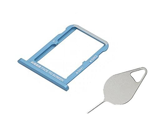 OnlyTech - Cajón para tarjeta SIM doble y tarjeta de memoria Micro SD de Xiaomi Mi A2 azul + herramienta de extracción