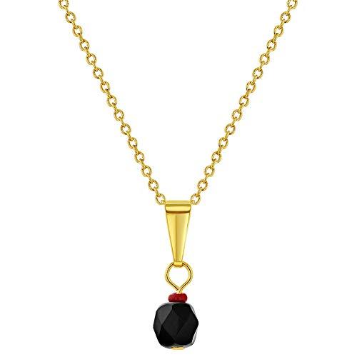 In Season Jewelry - Chapado en Oro 18k Azabache Simulado Collar de Protección contra el Mal de Ojo Colgante 48cm