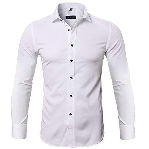 Gdtime Chemise pour Homme sans Repassage Manches Longues Slim Fit Uni Chemises Casual Infroissable Blanc,S