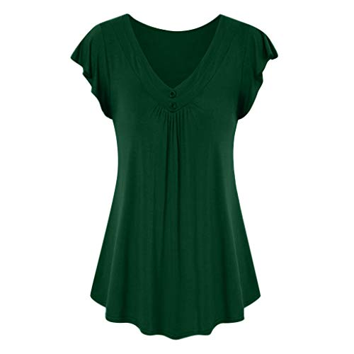 LOPILY Sommer T-Shirt Kurzarmshirt Damen Elegante Übergröße Kurzarm Gekräuselte Geraffte Shirts Blusen Tops Sommer Lässige Unregelmäßiger Saum Falten Bluse Oberteil(X1-Armeegrün,2XL)