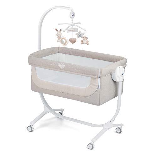 CAM 2 in 1 Beistellbett & Babywiege CULLAMI | höhenverstellbares Babybett | praktisch & schön| hochwertige Materialien - Made in Italy | flexibler Stubenwagen (Herzchen Beige)
