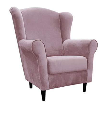 MARTHOME Poltrona tappezzata, poltrona comoda per il riposo, relax, per il soggiorno, camera da letto, guardare la TV e leggere. Poltrona scandinava in velluto (rosa)