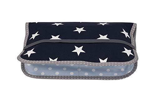 ULLENBOOM ® Windeltasche für unterwegs Blau Hellblau Grau (Made in EU) - Wickeltasche für bis zu 3 Windeln, Feuchttücher & weiteres Zubehör, Windeletui mit Reißverschluss & Gummiband, klein & lässig
