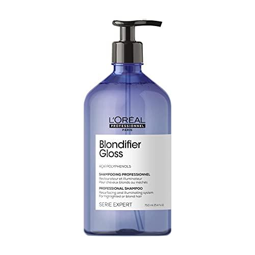 L'Oréal Professionnel | Champú Iluminador y Restaurador para cabellos con mechas o rubios, Blondifier Gloss, SERIE EXPERT, 750mL