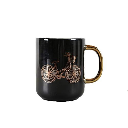 ZED- Taza de café de cerámica, Taza de café y Leche, Navidad y cumpleaños, Blanco y Negro