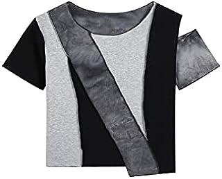 Wanxiaoyyyindx T Shirts for Women, Colorblock Tie-Dye Women's T-Shirt Street Wear Round Neck Short-Sleeved Short Blouse Fa...