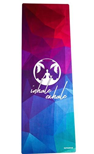 Isytravelyogi umweltfreundliche Yogamatte, Naturkautschuk, rutschfest, 3mm, mit Tragegurt, Trainingsmatte, ökologische Matte, Mikrofaser Oberfläche