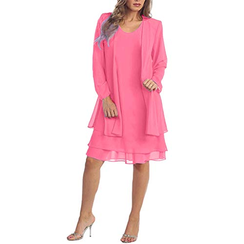 URSING Damen Chiffon Kleid Elegant Partykleid Strandkleid Sommerkleid Elegant Ärmellos V-Ausschnitt Patchwork Casual Minikleid Business...