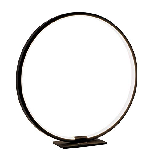 MASIVEL Modern Circle Table Lamp LED Warm Light Nightstand Lamp Black Reading Table Lamp with Dimmable Touch Control for Reading Bedroom and Office