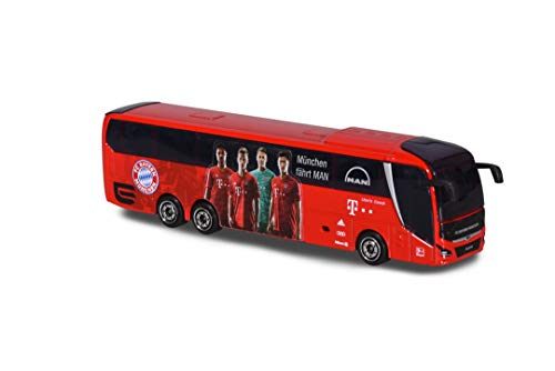 Majorette 212053156 FCB-Man Lion's Coach L Supreme, Teambus 2019/20, Bus Jouet avec Roue Libre et Suspension, 13 cm, Rouge
