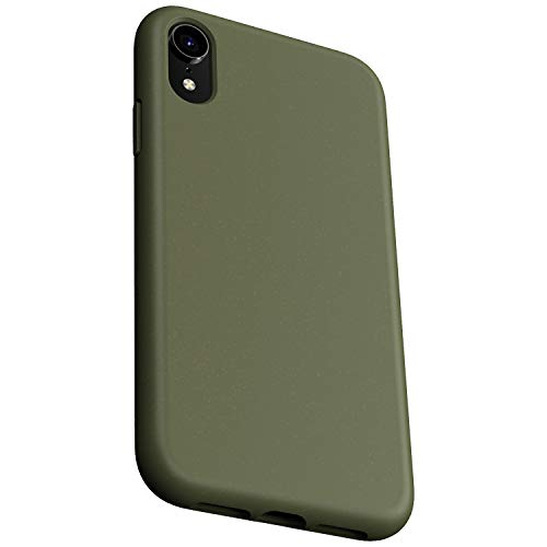Danbey Shockproof Wheat Straw Case for iPhone XR, 6.1 inches Display, Drop Protection, 2mm Thick Flexible and Durable TPU, Skin Feeling Matte Surface Cover - Olive Green
