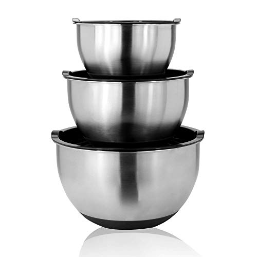 Stainless Steel Mixing Bowls – Set of three   0.22gal, 0.55gal, and 0,88gal Nesting Bowls   Non-Slip Silicone Base   3 Plastic Airtight Lids   Baking Bowls   M&W