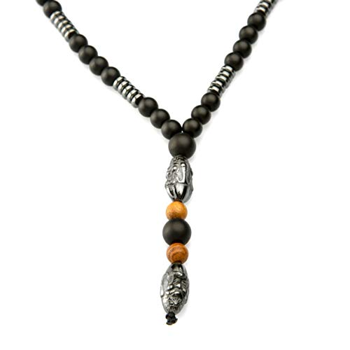 Perla Style Collar para Hombre con Piedra Hematita Colgante Buda Estilo Vikingo,Collar Rosario Budista Tibetano de ónix Mate Negro de 6mm