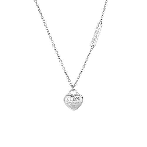 Guess - Halskette, Edelstahl, Herzanhänger, Logo - für Damen - Stahl