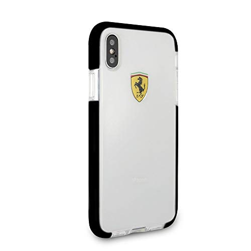 CG Mobile Ferrari Phone Case for iPhone X and iPhone Xs Hard Case PC/TPU On Track Collection with Racing Shield Design Black Easy Snap-on Shock Absorption Cover Officially Licensed.