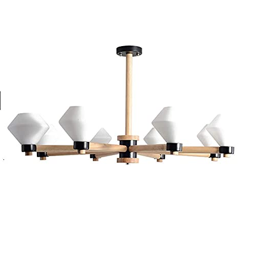 HLY Candelabro simple, lámpara colgante, luz de techo, candelabro, luz de techo, simple, moderno, Sputnik, 8 s, accesorio de madera maciza, sala de estar, colgante, para comedor, cocina, sala de esta