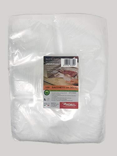Reber 6735 N Sacchetti Goffrati per Sottovuoto, 30x40 cm, 105 Micron, Anti-UV, 100 Pezzi, Trasparente