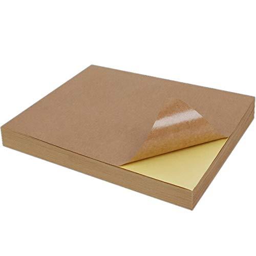 100 Blatt A4 Blank Kraft Klebstoff Aufkleber Selbstklebendes A4Kraft Etikettenpapier für Tintenstrahldrucker Verpackungsetikett