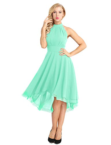 iiniim Vestido de Fiesta Cóctel Boda Noche Ceremonia para Mujer sin Mangas Vestido Dama de Honor Vestido Irregular Halter Falda Gasa Menta verde 38