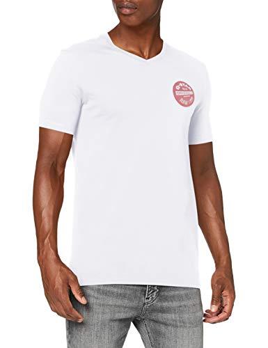 G-STAR RAW Originals Logo Slim Camiseta, Blanco 336-110, Small para Hombre