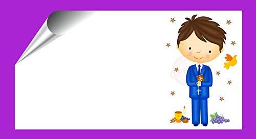 Kit 96 Etiquetas Mi Primera COMUNIÓN - Pegatinas Adhesivas Niño Comunión para Regalo, Invitación, Fiesta, Candy Bar, Obsequios, Botes Chuches, Dulces, Tarros