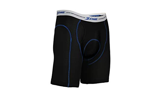 Zone Long-Ride Performance Shorts with Coolmax Padding for Motorcycle Riders (Medium - Waist Size 35-40) Black