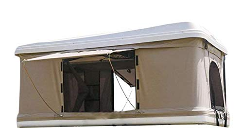 White Hard Shell Rooftop Tent Beige Waterproof Fabric with 50 mm Mattress and Free Ladder