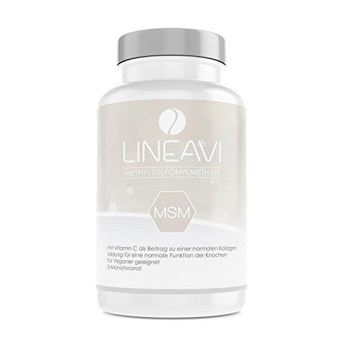LINEAVI MSM, 1200mg Methylsulfonylmethan (99,9% rein), mit 24mg Vitamin C, unterstützt die normale Funktion der Knochen und Knorpel, in Deutschland hergestellt, 180 Kapseln (3-Monatsvorrat)