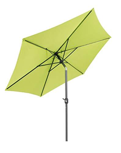 LINDER EXCLUSIV Sonnenschirm Ø 2,5 m mit Knick knickbar mit Kurbel Schirm Gartenschirm 6 Farben (Limegrün)
