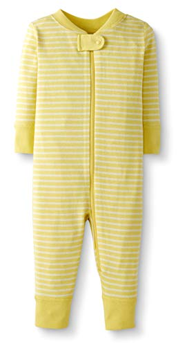 Moon and Back by Hanna Andersson Baby/Toddler One-Piece Organic Cotton Footless Pajamas, Yellow Stripe , 6-12 months