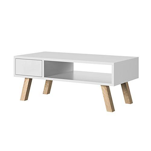 Selsey Vero Wood - Couchtisch / Beistelltisch mit Ablage und Schublade (Weiß Matt, Beine aus Buchenholz, Eckig, 80x40 cm)