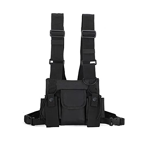 Chest Pack Bag Rigs Tactical Rig for Men Women Fashion Chest Rig Bag Pack Harness Utility Bags Running Exercise Hiking Sports Black