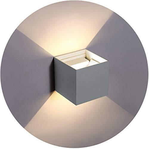 Topmo-plus 6W LED Wandlampe / 2 OSRAM COB LED Leuchtmittel Aluminium IP65 Wasserdichte 660LM Quadrat Wandbeleuchtung 3000K Warmweiß Up & Down Innen/Außenwandleuchten 10CM grau