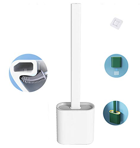 FuChIpnTco Silicone Toilet Brush, with Holder Set for Bathroom Toilet Bowl Cleaner Brush and Holder, Non-Slip Plastic Handle Bendable Brush Head to Clean Corner Easily, White