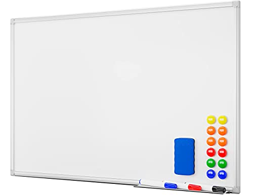 SANAWATEC Magnetisches Whiteboard 60 x 45 cm (B x H) magnettafel Magnetwand beschreibbar mit Alurahmen inklusive 3 Stiftablage, 12 Pinnwand Tafel und Schwamm trocken abwischbar