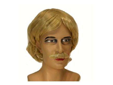 Perruque homme blond avec moustache