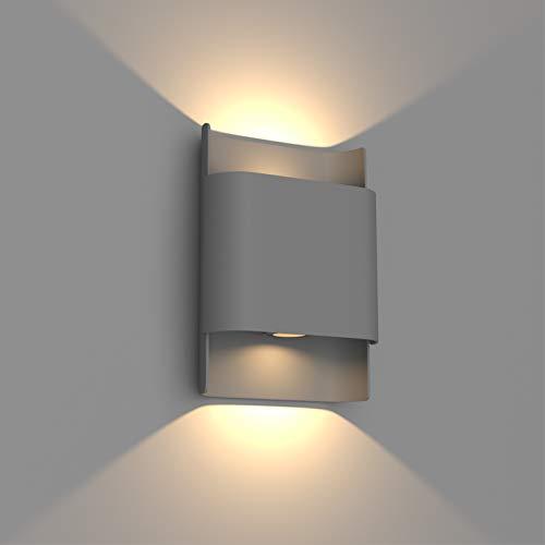 Klighten 12W Lampara de Pared LED Exterior Interior IP65, Arriba y Abajo Apliques Pared Moderno de Aluminio para Entrada Jardines Pasillo Escaleras, Blanco CáLido 2800-3100K, Gris Oscuro