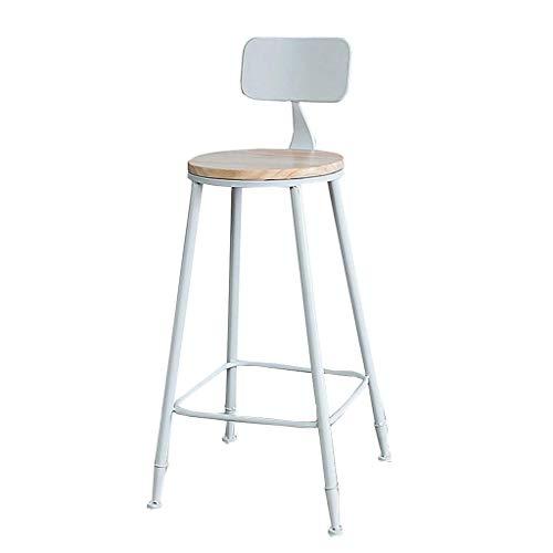 LLT Heces práctica taburetes barra de desayuno taburete de cocina Pub Silla de Comedor Contador metal blanco Marco de asiento de madera de la carga máxima 150 kg Respaldo de Seguridad