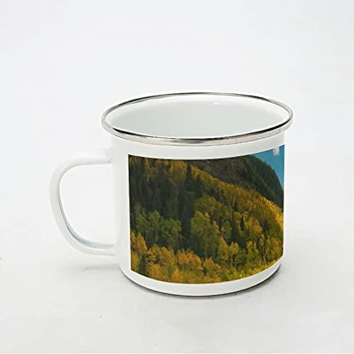 KittyliNO5 Taza esmaltada con luz del sol, árboles, paisaje bosque, reutilizable y portátil, taza de café o té, idea de regalo para los amantes del café, color blanco, 350 ml