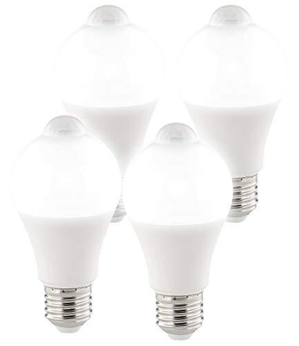 Luminea Lampe Bewegungsmelder: 4er-Set LED-Lampen, PIR-Sensor, 12 Watt, E27, tageslichtweiß, 6500 K (Leuchte mit Bewegungsmelder)